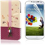Luxury Flip Leather Case Cover For Samsung Galaxy S4 IV i9500 + LCD Guard PC476