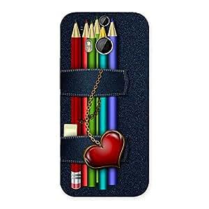Impressive Denim Pencil Print Back Case Cover for HTC One M8