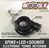 Electronic Spinning Turbo Turbine Keychain with Sounds + LED! - Matt Black NEW V4