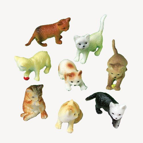 12 Mini Plastic CAT Figures/KITTEN Kitty TOYS/Birthday PARTY FAVORS/Prizes/CUPCAKE Toppers/Teacher Rewards - 1