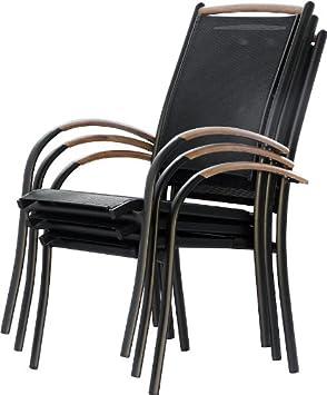IB-Style - DIPLOMAT Gartenstuhlset Stapelbar | ALU SCHWARZ + TEAKHOLZ + Textilen SCHWARZ | 2 Farben | 3 Set- Kombinationen | Mehrfach gewebt - Gartenstuhl Stapelstuhl Sessel Gartenmöbel Gartengarnitur - 8er Set