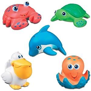 (史低)Munchkin Five Sea Squirts 麦肯奇海洋小动物洗澡喷水玩具5件套$5.17