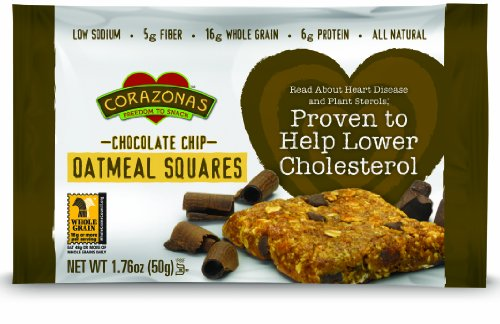 Corazonas Oatmeal Squares, Chocolate Chip, 1.76-Ounce Bars (Pack of 12)