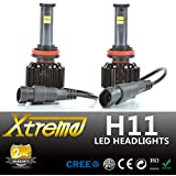 Xtreme® All-IN-ONE Patented Design Ultra Bright LED Headlight Conversion Kit (No Ballast Required) - All Bulb Sizes & Color Temperature Covers - Replaces Halogen & HID Bulbs (H11, Original Temperature Cover Kit)
