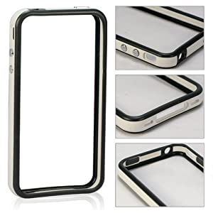 Invero® WHITE/BLACK Hard Plastic Rubber Bumper Case with Metal Buttons for Apple Iphone 4S / 4