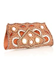 Voylla Voylla Chic Brown Floral Glass Work Beaded Clutch