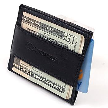 Alpine Swiss Mens Genuine Leather Super Thin Slim Cash Strap Money Clip Wallet