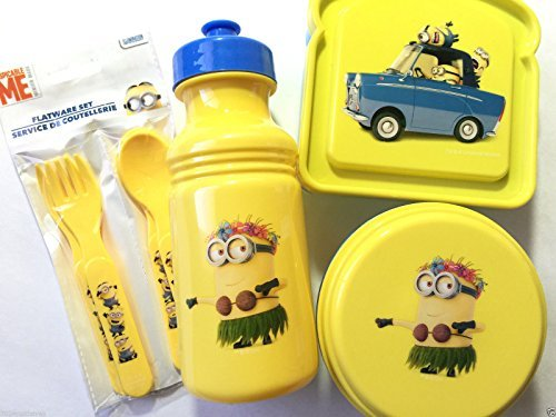 Despicable-Me-Minions-Mayhem-Childrens-Resuable-7pc-Lunch-Set-Includes-Pull-Top-Water-Bottle-Sandwich-Box-Snack-Container-Flatware