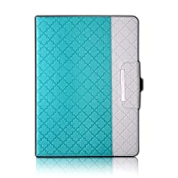 iPad Pro Case,Thankscase Rotating Leather Case Smart Cover with Quatrefoil Lattice Embossed Pattern,Swivel Case Build-in Pencil Holder and Wallet Pocket and Hand Strap for iPad Pro.(Mint Quatrefoil)