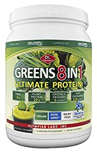 Olympian Labs Ultimate Greens Protein 8 in 1 with Hemp Protein Blueberry flavored -1 lb. 3 oz.