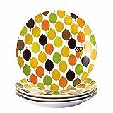 Rachael Ray Dinnerware Little Hoot 4-Piece Salad Plate Set, Print