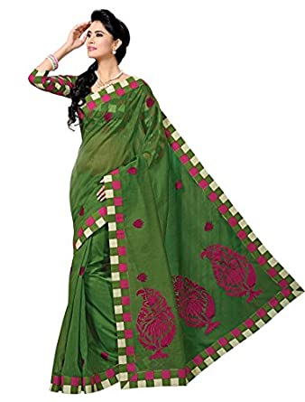 Triveni Indian Designer Party Wear Green Sophisticated Embroidered Cotton Saree available at Amazon for Rs.1318