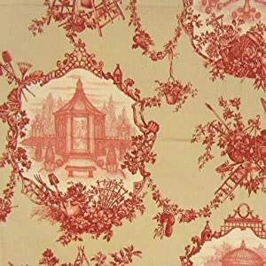 """54"""" Wide Fabric, Garden Toile Color Sage, Braemore Toile Fabric By the Yard"""