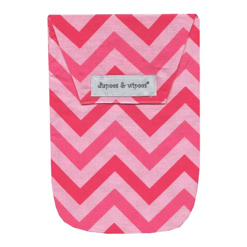 Diapees & Wipees Chevron Pink Baby Diaper and Wipes Bag