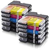 """10 BROTHER Druckerpatronen (4x schwarz + je 2x cyan magenta yellow) kompatibel zu 980 1100 Serievon """"unbekannt"""""""