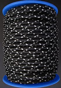 Gepolight Flechtleine/Flechtschnur/Seil stark reflektierend 3mm-20meter schwarz