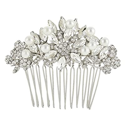 EVER FAITH Austrian Crystal Cream Simulated Pearl Bridal Lots Leaves Flowers Hair Comb Clear