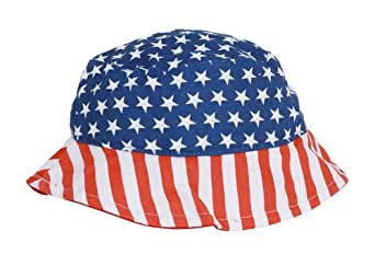 4th of July Patriotic Flag Bucket Hat- Blue/Red