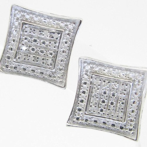 Mens 925 Sterling Silver earrings fancy stud hoops huggie ball fashion dangle white small outline square pave earrings