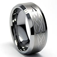 8MM Men's Tungsten Ring with Etched Tribal Design Sizes 8 to 12