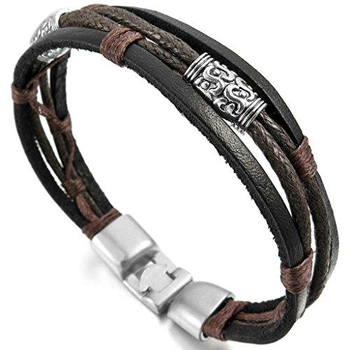 men-alloy-genuine-leather-bracelet-bangle-rope-black-silver-brown-braided-tribal