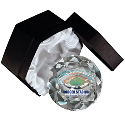 MLB Los Angeles Dodgers Stadium 4-Inch High Brillance Diamond Cut Crystal Paperweight