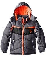 U.S. Polo Association Big Boys' Puffer V Striped Jacket with Removable Hood
