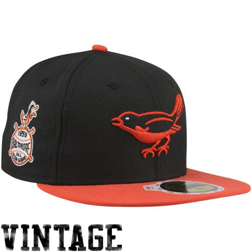 MLB New Era Baltimore Orioles 1958 Cooperstown All-Star Patch 59FIFTY Fitted Hat - Black/Orange (7 5/8) at Amazon.com