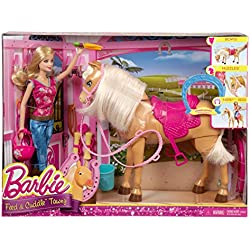 Barbie Feed & Cuddle Tawny Horse and Doll Playset by Barbie
