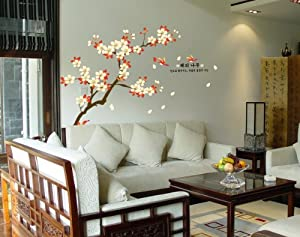ufengke® XLarge Green Garden Series Beautiful Apricot Flower Wall Decals, Living Room Bedroom Removable Wall Stickers Murals, Set of 2 Sheets from Ufingo