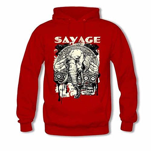 Men's Savage Tribal Elephant Pattern Vintage Hooded Sweatshirt Cotton Hoodies XXXL