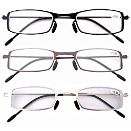Eyekepper 3 Pcs Mix Unique Lightweight Stainless Steel Frame Cheap Reading Glasses For Men and Women +3.5