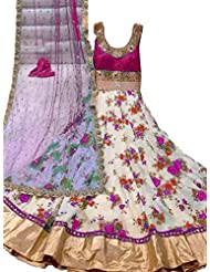 Shree Fashion Women's Print Pink Long Anrkali Long Bhagalpuri Unstich Dress