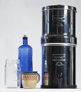 "British Berkefeld® Gravity Water Filter with four 7"" Super SterasylTM Ceramic Water Filter Elements"