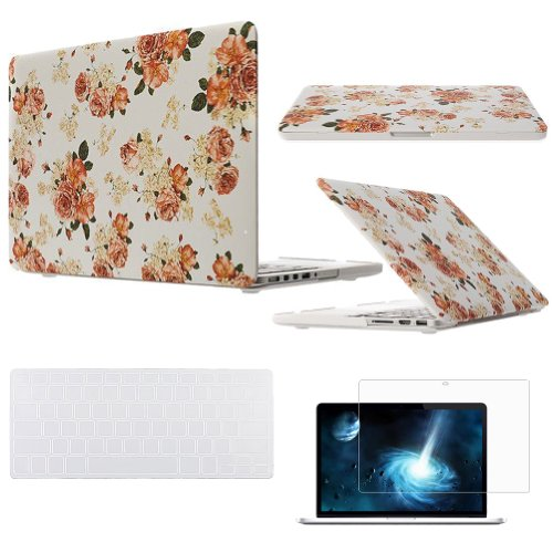 "Easygoby 3 In 1 Retina 15-Inch Rubber Coated Hard Case For Apple Macbook Pro 15.4"" With Retina Display (A1398) Shell Cover + Transparent Keyboard Cover + Screen Protector - Flower"