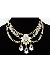 Brilliant New High End Gold Tone Rhinestone Statement Necklace