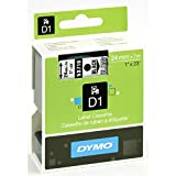 DYMO 53710 High-Performance Permanent Self-Adhesive D1 Standard Tape for Label Makers, 1-inch, Black print on Clear, 23-foot Cartridge