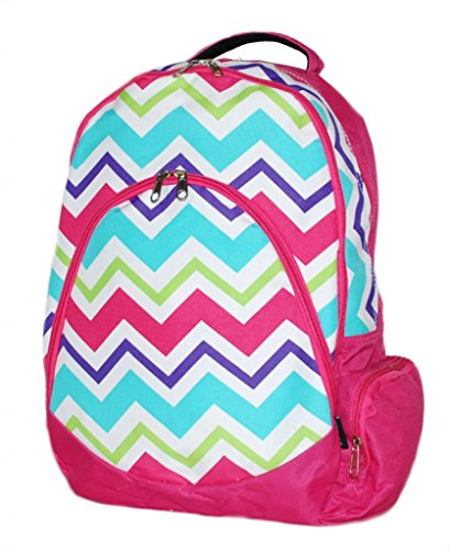 Chevron Backpack Computer School Book Bag Multi Color Heavy Duty by LD Bags