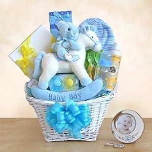 Rocking Baby Boy Newborn Gift Basket By California Delicious