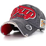 ililily Distressed Vintage Style Denim DRY Baseball Cap Pre-curved Bill and Embroidery on Front and Side with Adjustable Leather Strap Snapback Trucker Hat (ballcap-595)