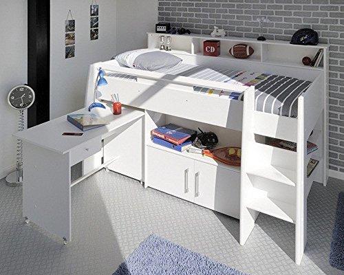 Lit combiné en 90 x 200 Blanc pour chambre enfant, L 211 x H 132 x P 130 cm -PEGANE-