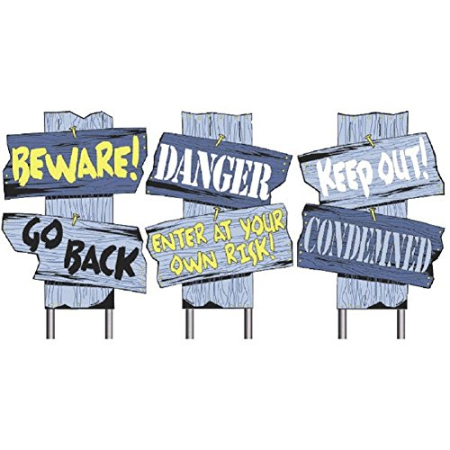 Halloween Decoration Scare Signs ~Beware Go Back~Danger Enter at Your Own Risk~Keep Out Condemned - 1