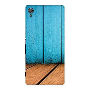 Cyan Wood Back Case Cover for Xperia Z4