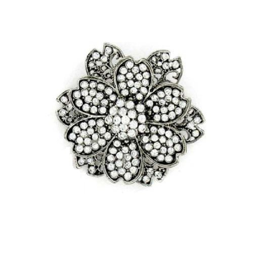 Fashion Flower Brooch Antique Silver #014738