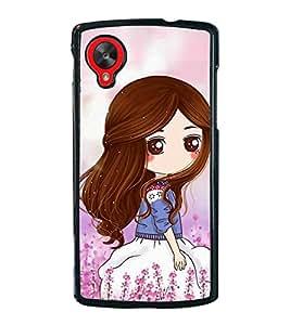Cute Girl 2D Hard Polycarbonate Designer Back Case Cover for LG Nexus 5 :: LG Google Nexus 5