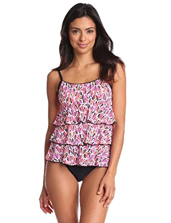 Fit 4 U Women's Shelbourne 3 Tiered Scoop Neck Top, Pink, 8