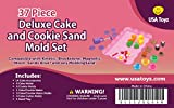 Deluxe Cake and Cookie Sand Molds Kit (37 pcs) with Play Tray - Compatible with Kinetic Sand, Sands Alive, Brookstone, Waba, Moon Sand and All Other Molding Play Sand Brands - (Sand NOT included)