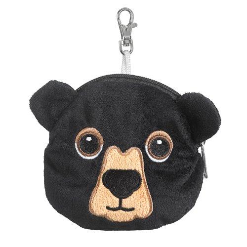 Black Bear Stuffed Animal Plush Pouch Purse Animal Case Clip on Bag Animal Zipper Pouch Wallet Bag