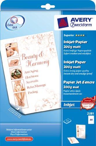 Zweckform Papier jet d'encre, A4, 200 g/m2, blanc, neutre, couche recouverte sur les deux côtés...