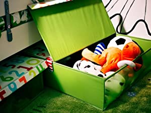 """Ikea Underbed Storage Box w/ Lid Foldable 23x23"""" Kids Toys Clothes Accessory Organizer Basket Tote Green Kusiner"""